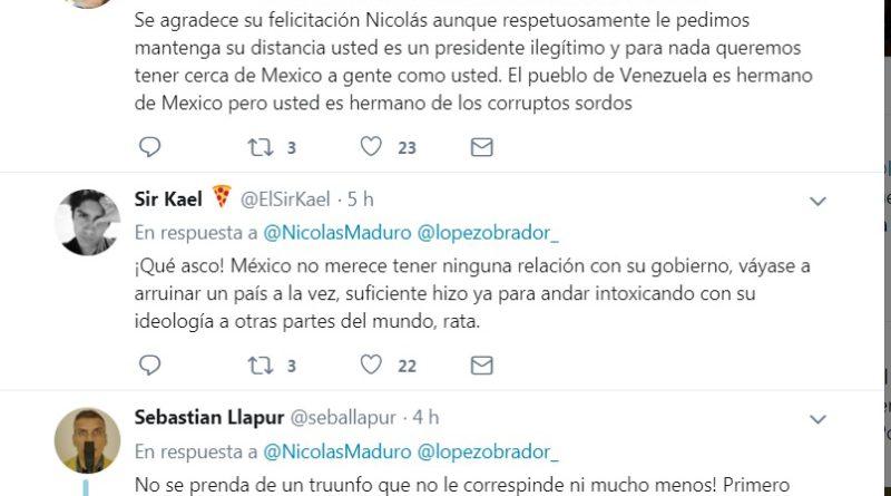 NICOLÁS MADURO PROVOCA MÁS DE 5 MIL MENSAJES DE RECHAZO DE MEXICANOS CUANDO FELICITÓ A LÓPEZ OBRADOR